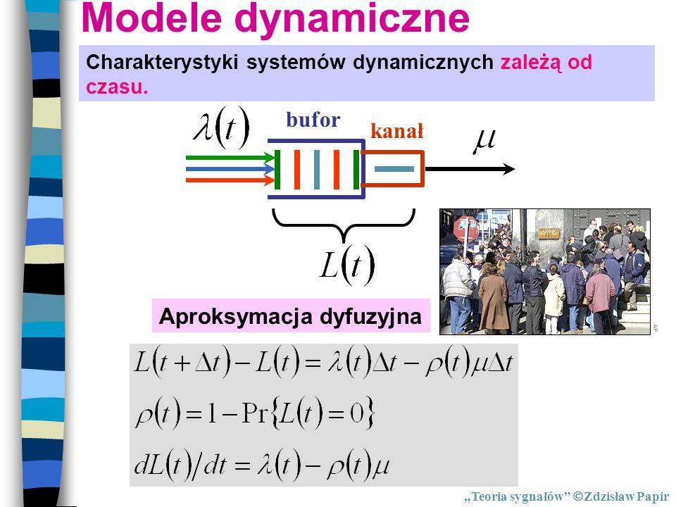 Modele dynamiczne Charakterystyki systemów dynamicznych zależą od czasu. bufor kanał Aproksymacja dyfuzyjna Teoria sygnałów Zdzisław Papir