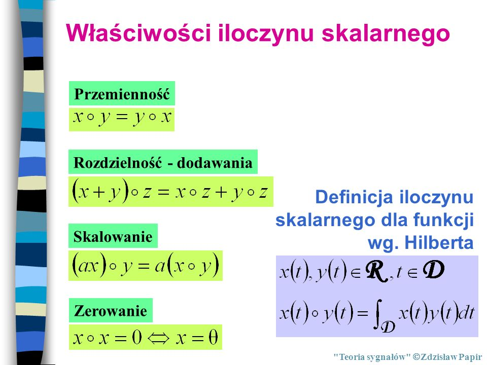 Przestrzeń euklidesowa i Hilberta Teoria sygnałów Zdzisław Papir Przestrzeń Hilberta - przestrzeń w której odległość mierzymy za pomocą iloczynu skalarnego.