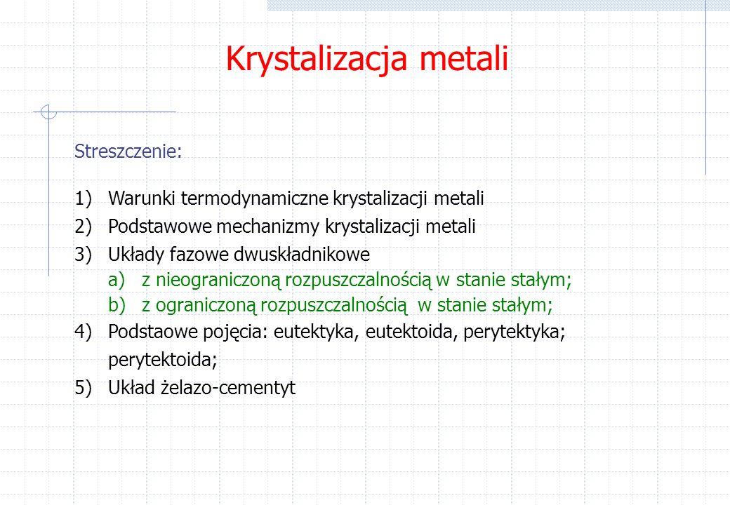 Krystalizacja metali Streszczenie: 1)Warunki termodynamiczne krystalizacji metali 2)Podstawowe mechanizmy krystalizacji metali 3)Układy fazowe dwuskładnikowe a)z nieograniczoną rozpuszczalnością w stanie stałym; b)z ograniczoną rozpuszczalnością w stanie stałym; 4)Podstaowe pojęcia: eutektyka, eutektoida, perytektyka; perytektoida; 5)Układ żelazo-cementyt