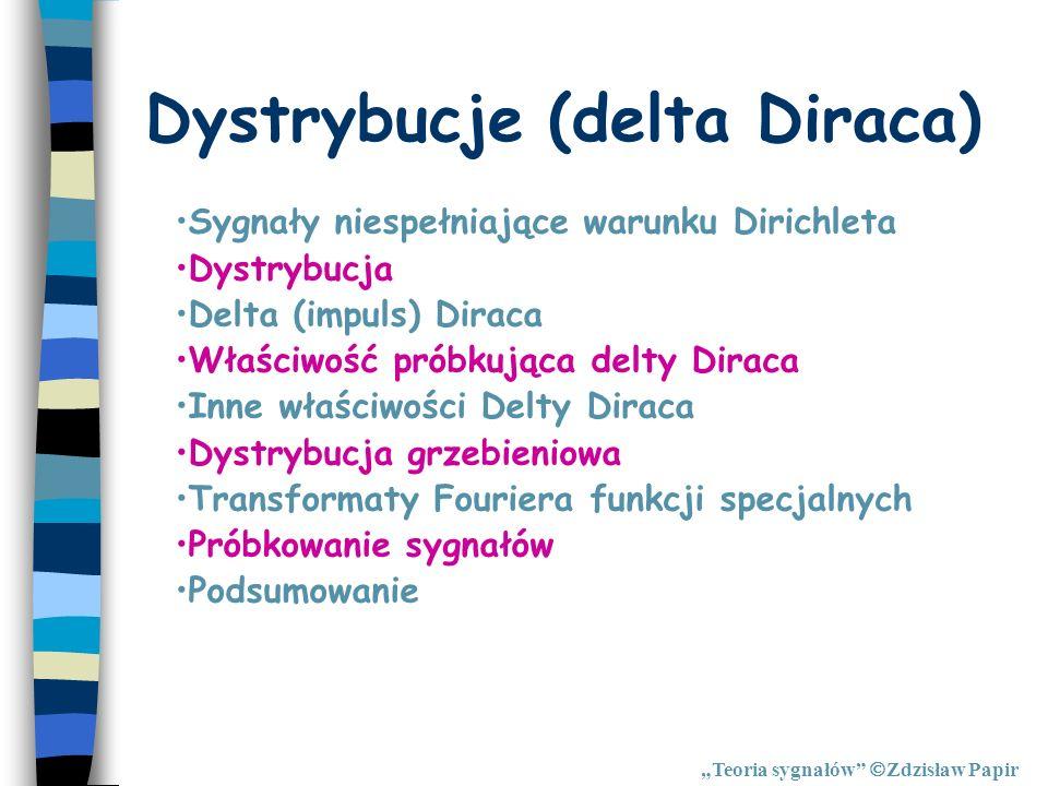 Dystrybucje (delta Diraca) Teoria sygnałów Zdzisław Papir Sygnały niespełniające warunku Dirichleta Dystrybucja Delta (impuls) Diraca Właściwość próbk