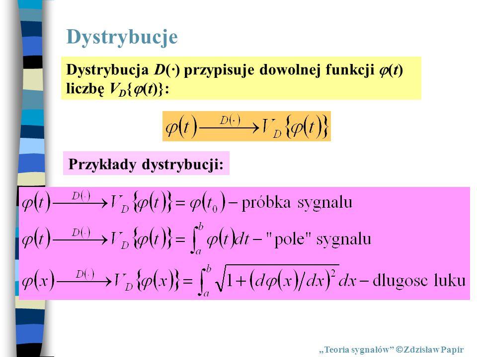 Zapis całkowy dystrybucji Teoria sygnałów Zdzisław Papir Dystrybucja D(·) przypisuje dowolnej funkcji (t) liczbę V D { (t)}: Dystrybucję zapisujemy w postaci całkowej: w celu zachowania właściwości liniowości:
