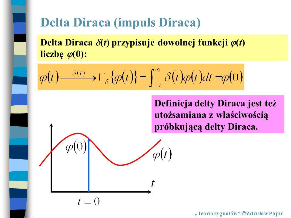 Delta Diraca (impuls Diraca) Teoria sygnałów Zdzisław Papir Delta Diraca (t) przypisuje dowolnej funkcji (t) liczbę (0): Definicja delty Diraca jest t