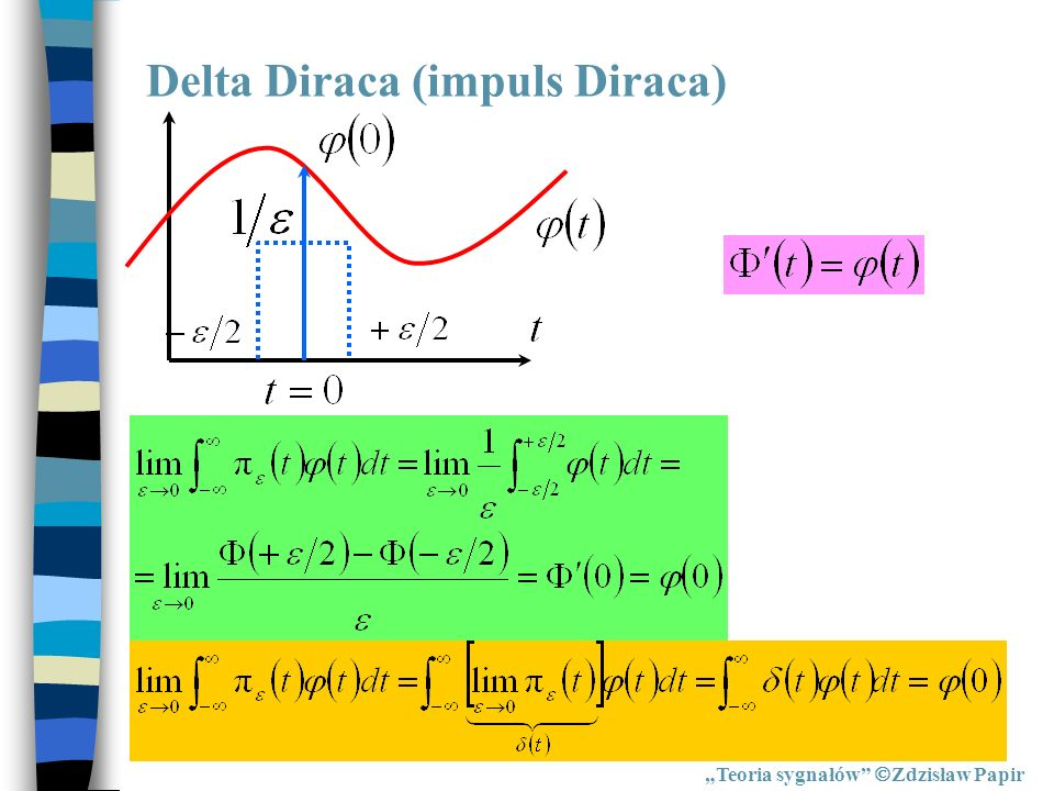 Delta Diraca (impuls Diraca) Teoria sygnałów Zdzisław Papir