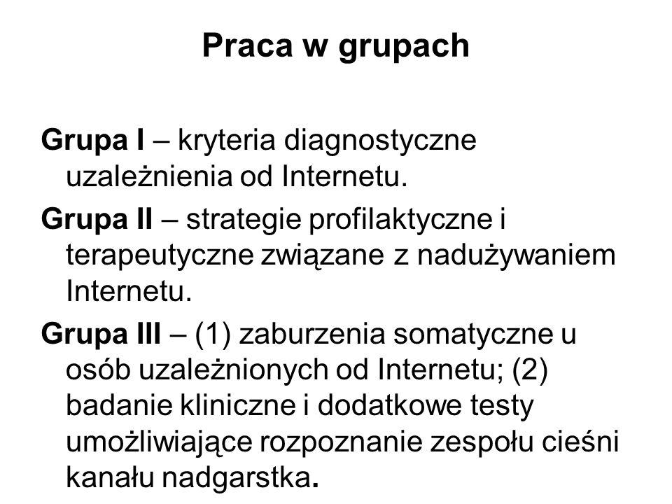 Praca w grupach Grupa I – kryteria diagnostyczne uzależnienia od Internetu. Grupa II – strategie profilaktyczne i terapeutyczne związane z nadużywanie