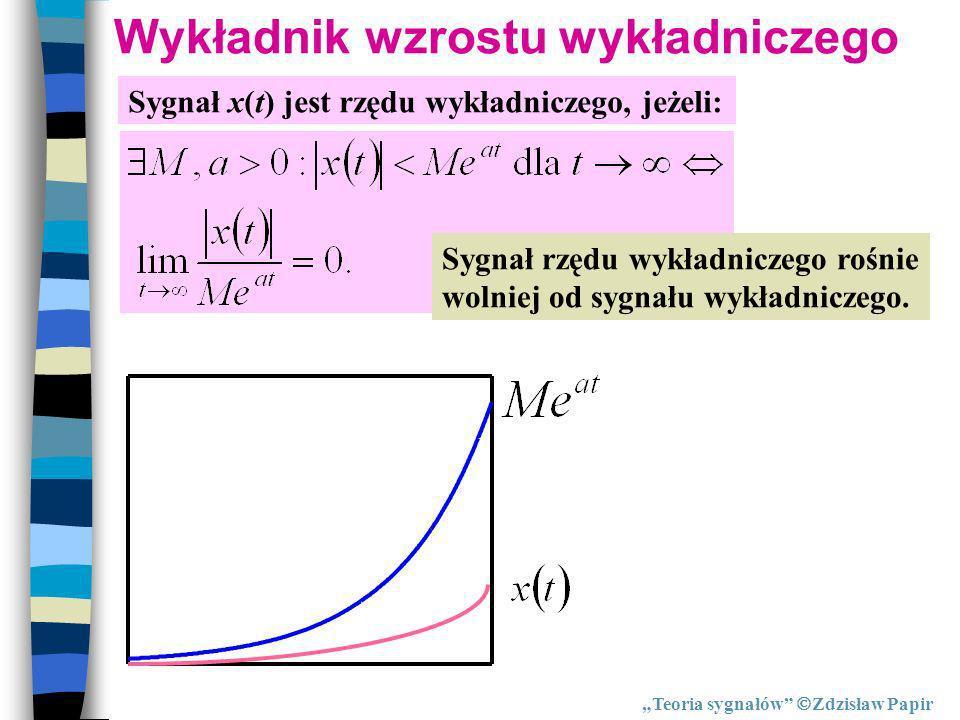 Wykładnik wzrostu wykładniczego Sygnał x(t) jest rzędu wykładniczego, jeżeli: Sygnał rzędu wykładniczego rośnie wolniej od sygnału wykładniczego. Teor