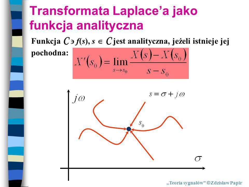 Transformata Laplacea jako funkcja analityczna Funkcja C f(s), s C jest analityczna, jeżeli istnieje jej pochodna: Teoria sygnałów Zdzisław Papir