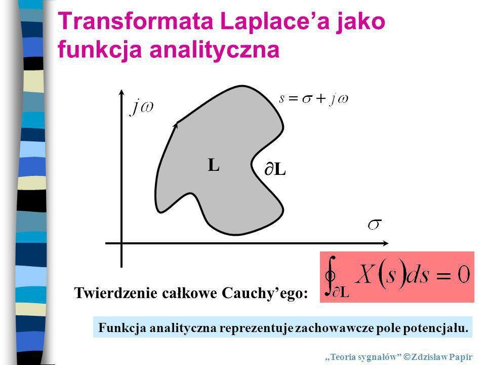 Transformata Laplacea jako funkcja analityczna Twierdzenie całkowe Cauchyego: L L Funkcja analityczna reprezentuje zachowawcze pole potencjału. Teoria