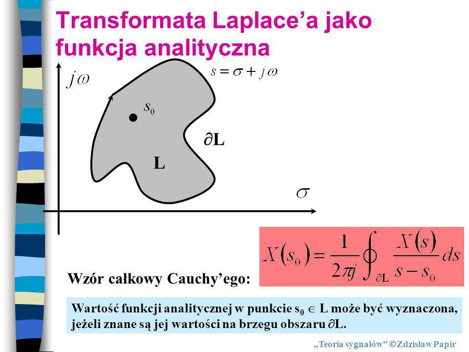 Transformata Laplacea jako funkcja analityczna L Wzór całkowy Cauchyego: Wartość funkcji analitycznej w punkcie s 0 L może być wyznaczona, jeżeli znan