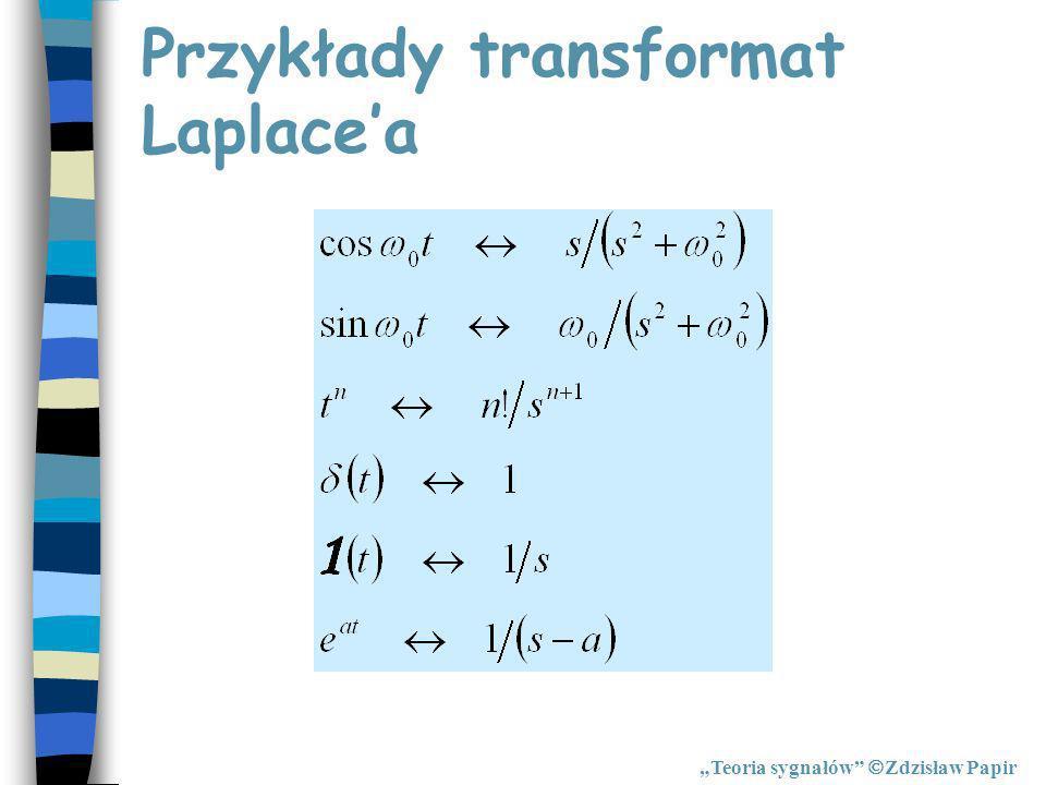 Przykłady transformat Laplacea Teoria sygnałów Zdzisław Papir