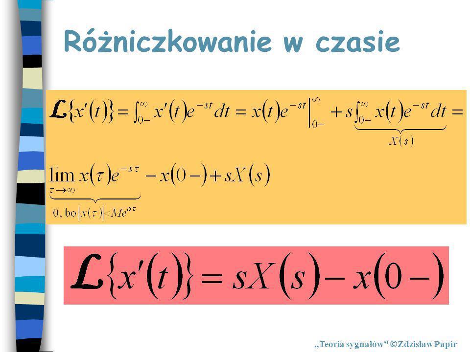 Różniczkowanie w czasie Teoria sygnałów Zdzisław Papir