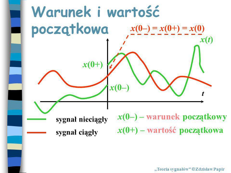 Warunek i wartość początkowa x(t)x(t) t sygnał ciągły sygnał nieciągły x(0–) x(0+) x(0–) = x(0+) = x(0) x(0–) – warunek początkowy x(0+) – wartość poc