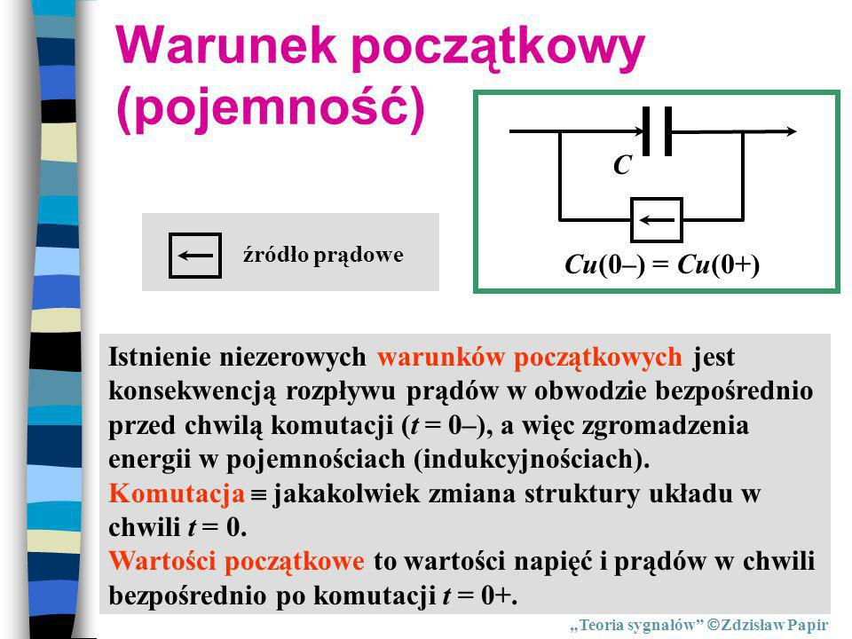 Warunek początkowy (pojemność) Cu(0–) = Cu(0+) Istnienie niezerowych warunków początkowych jest konsekwencją rozpływu prądów w obwodzie bezpośrednio p