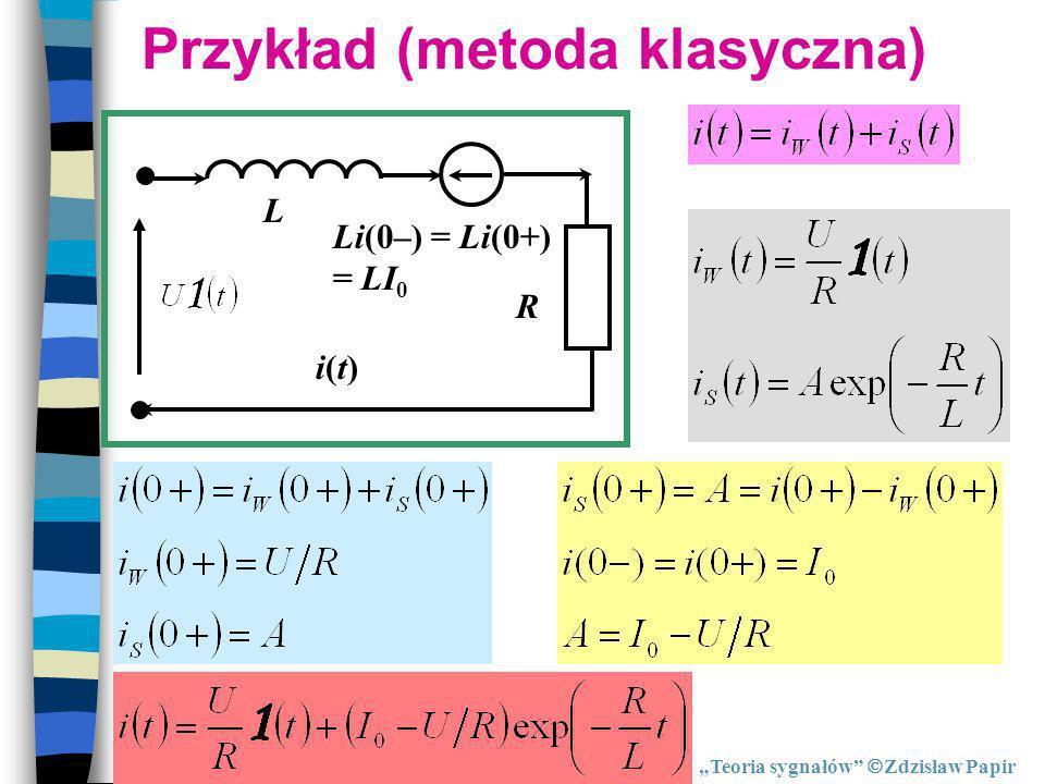 Przykład (metoda klasyczna) Li(0–) = Li(0+) = LI 0 L R i(t)i(t) Teoria sygnałów Zdzisław Papir