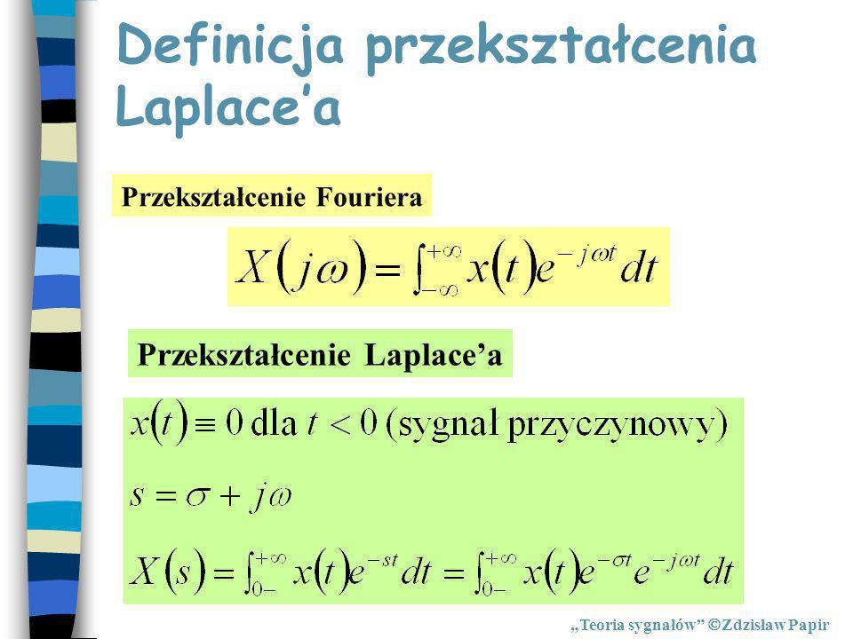 Definicja przekształcenia Laplacea Przekształcenie Fouriera Przekształcenie Laplacea Teoria sygnałów Zdzisław Papir