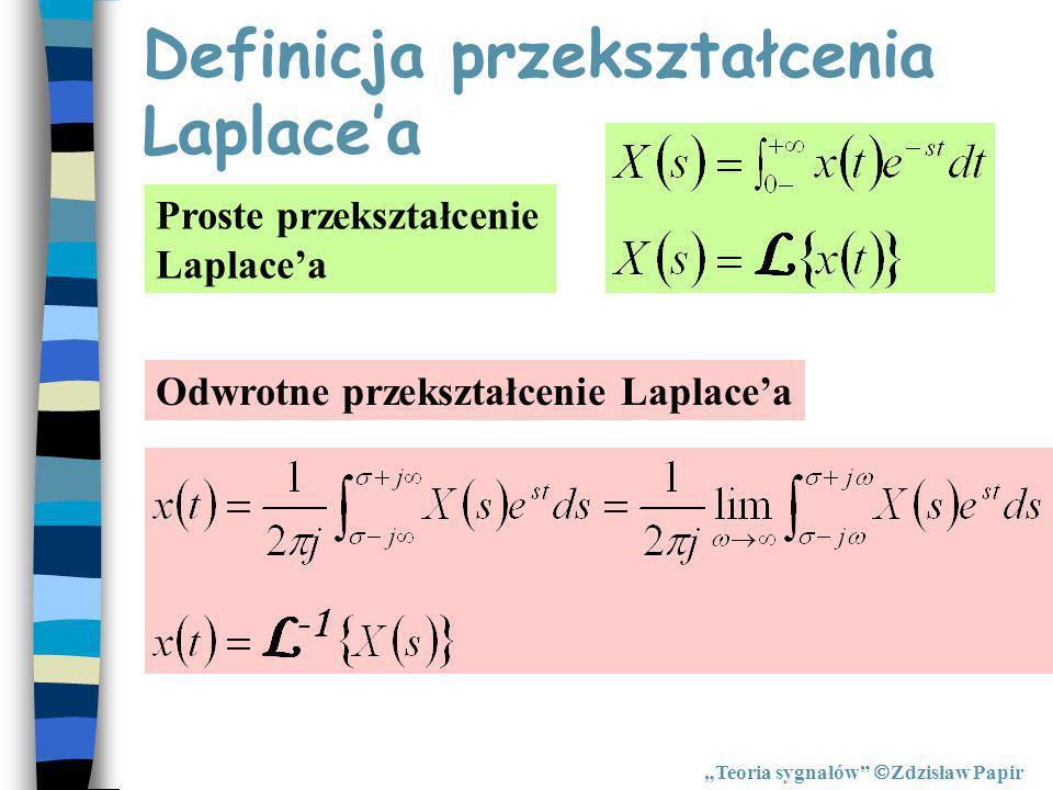Definicja przekształcenia Laplacea Proste przekształcenie Laplacea Odwrotne przekształcenie Laplacea Teoria sygnałów Zdzisław Papir