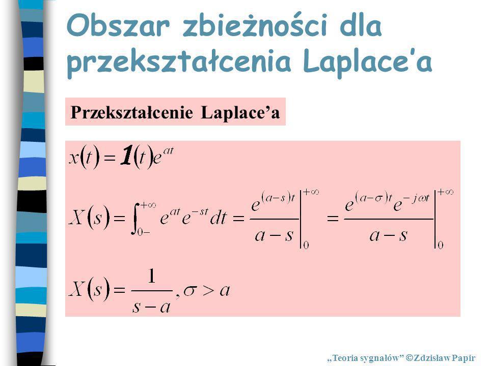 Obszar zbieżności dla przekształcenia Laplacea Przekształcenie Laplacea Teoria sygnałów Zdzisław Papir
