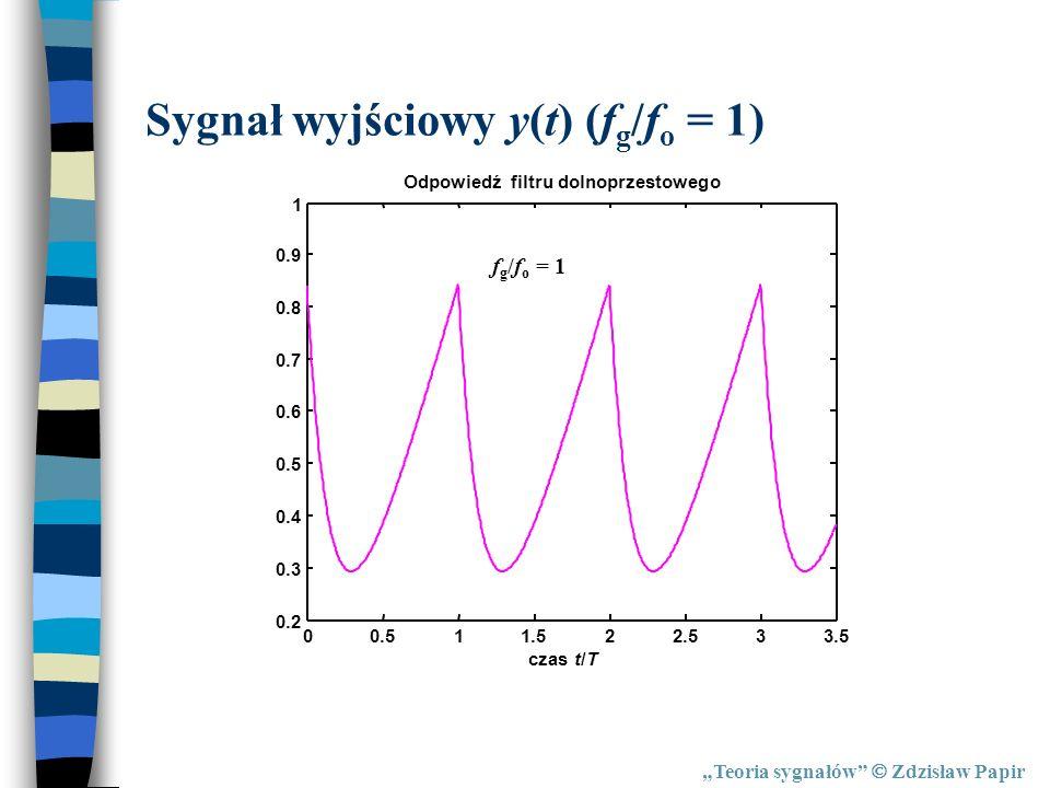 Teoria sygnałów Zdzisław Papir Sygnał wyjściowy y(t) (f g /f o = 1) 00.511.522.533.5 0.2 0.3 0.4 0.5 0.6 0.7 0.8 0.9 1 Odpowiedź filtru dolnoprzestowe