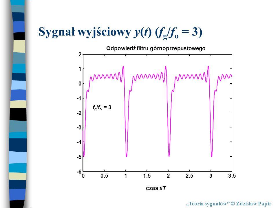 Teoria sygnałów Zdzisław Papir Sygnał wyjściowy y(t) (f g /f o = 3) 00.511.522.533.5 -6 -5 -4 -3 -2 0 1 2 Odpowiedź filtru górnoprzepustowego czas t/T