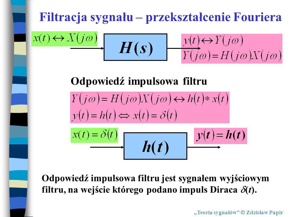 Teoria sygnałów Zdzisław Papir Odpowiedź impulsowa filtru Filtracja sygnału – przekształcenie Fouriera Odpowiedź impulsowa filtru jest sygnałem wyjści