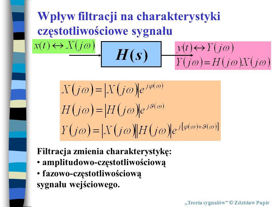 Teoria sygnałów Zdzisław Papir Wpływ filtracji na charakterystyki częstotliwościowe sygnału Filtracja zmienia charakterystykę: amplitudowo-częstotliwo