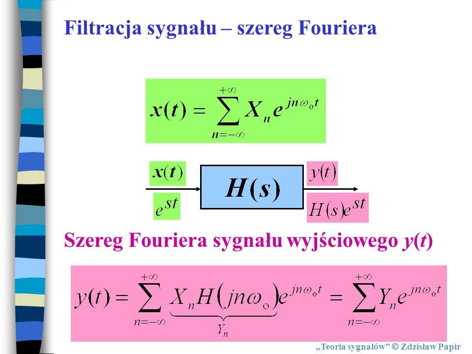 Teoria sygnałów Zdzisław Papir Szereg Fouriera sygnału wyjściowego y(t) Filtracja sygnału – szereg Fouriera