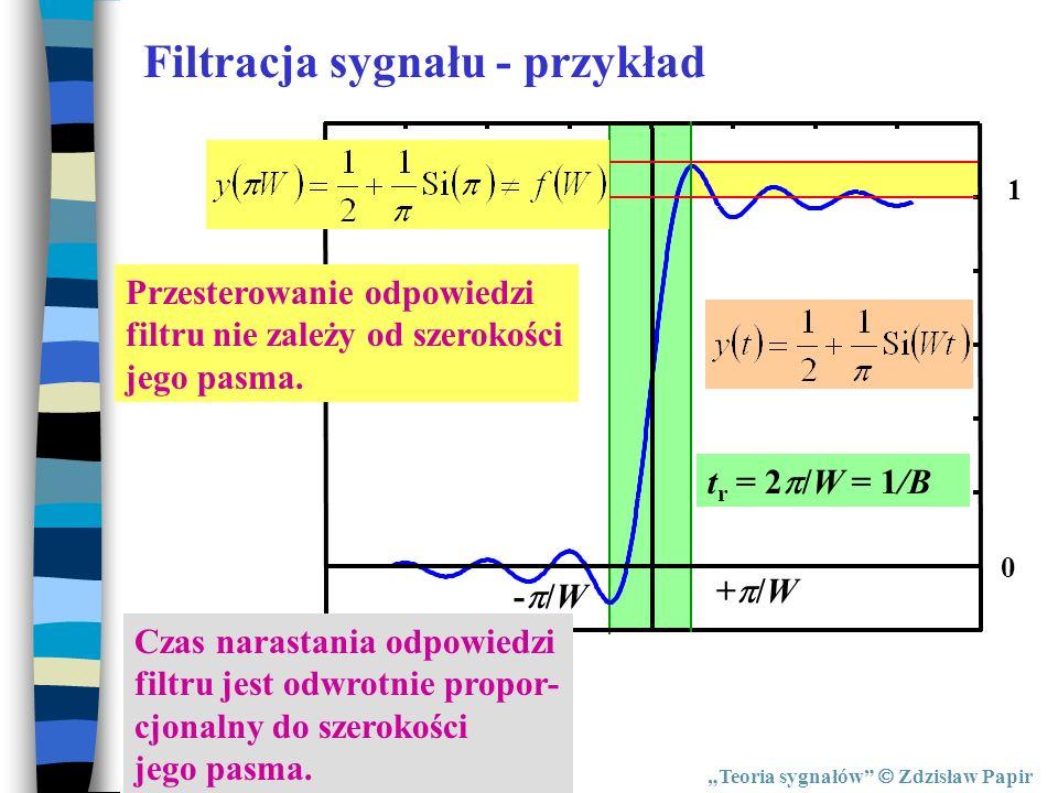 Teoria sygnałów Zdzisław Papir Filtracja sygnału - przykład 1 0 + /W - /W t r = 2 /W = 1/B Przesterowanie odpowiedzi filtru nie zależy od szerokości j