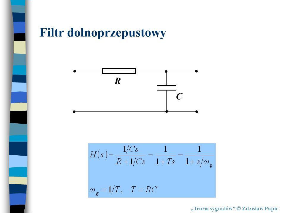 Teoria sygnałów Zdzisław Papir Filtr dolnoprzepustowy R C