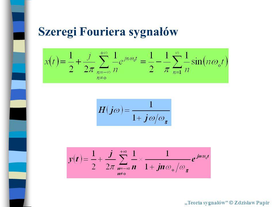 Teoria sygnałów Zdzisław Papir Szeregi Fouriera sygnałów
