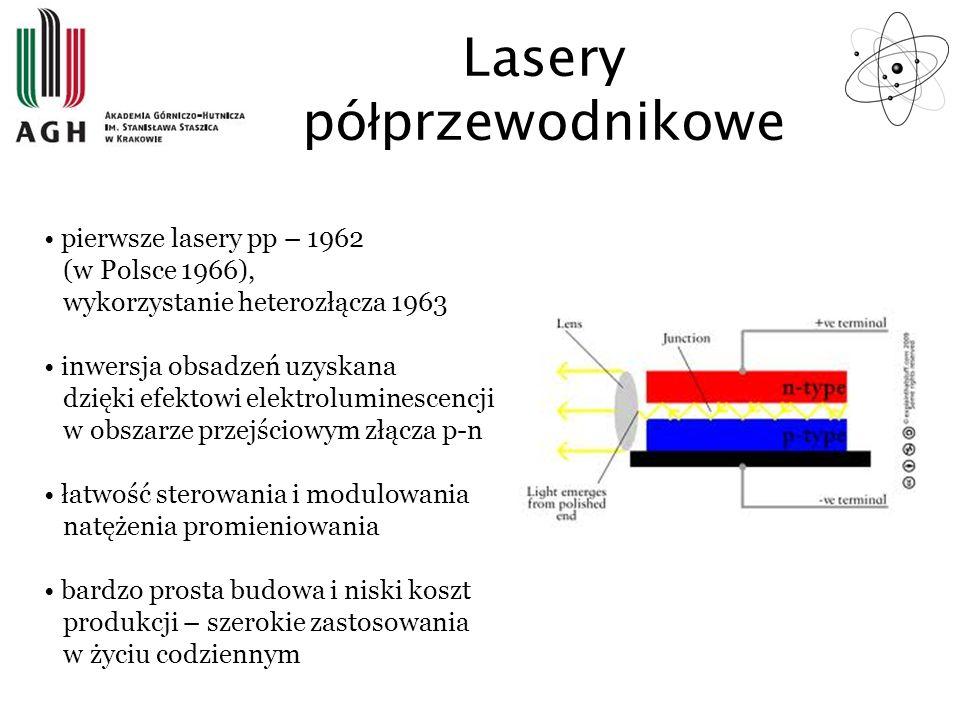 pierwsze lasery pp – 1962 (w Polsce 1966), wykorzystanie heterozłącza 1963 inwersja obsadzeń uzyskana dzięki efektowi elektroluminescencji w obszarze