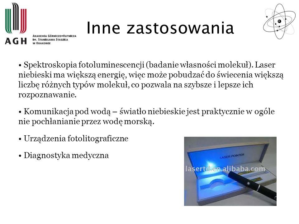 Inne zastosowania Spektroskopia fotoluminescencji (badanie własności molekuł). Laser niebieski ma większą energię, więc może pobudzać do świecenia wię