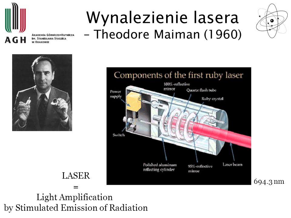 Wynalezienie lasera – Theodore Maiman (1960) Dla rubinu: P – fotony zielone, R – ciepło, L – fotony czerwone Pręt rubinowy b.