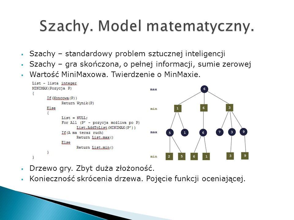 Szachy – standardowy problem sztucznej inteligencji Szachy – gra skończona, o pełnej informacji, sumie zerowej Wartość MiniMaxowa. Twierdzenie o MinMa