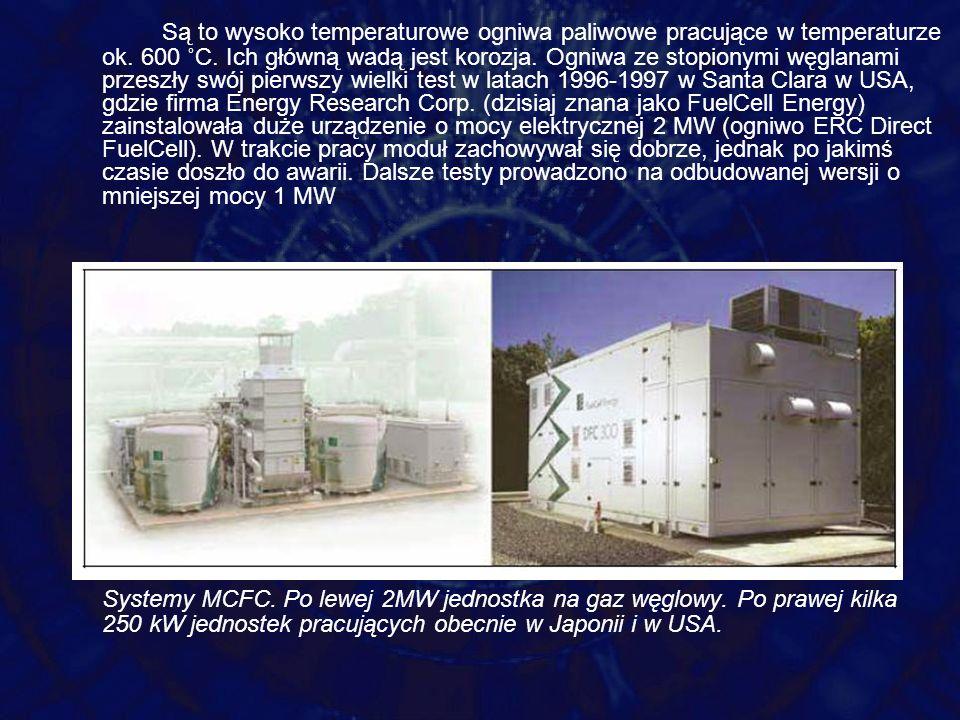 Są to wysoko temperaturowe ogniwa paliwowe pracujące w temperaturze ok. 600 ˚C. Ich główną wadą jest korozja. Ogniwa ze stopionymi węglanami przeszły