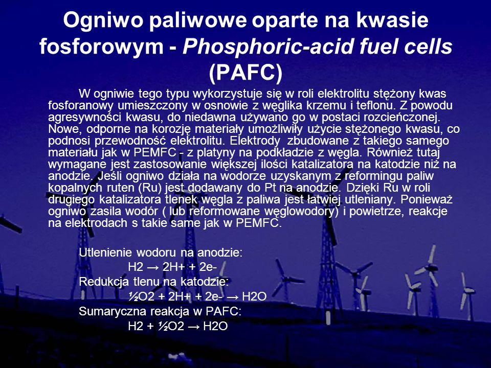Ogniwo paliwowe oparte na kwasie fosforowym - Phosphoric-acid fuel cells (PAFC) W ogniwie tego typu wykorzystuje się w roli elektrolitu stężony kwas f