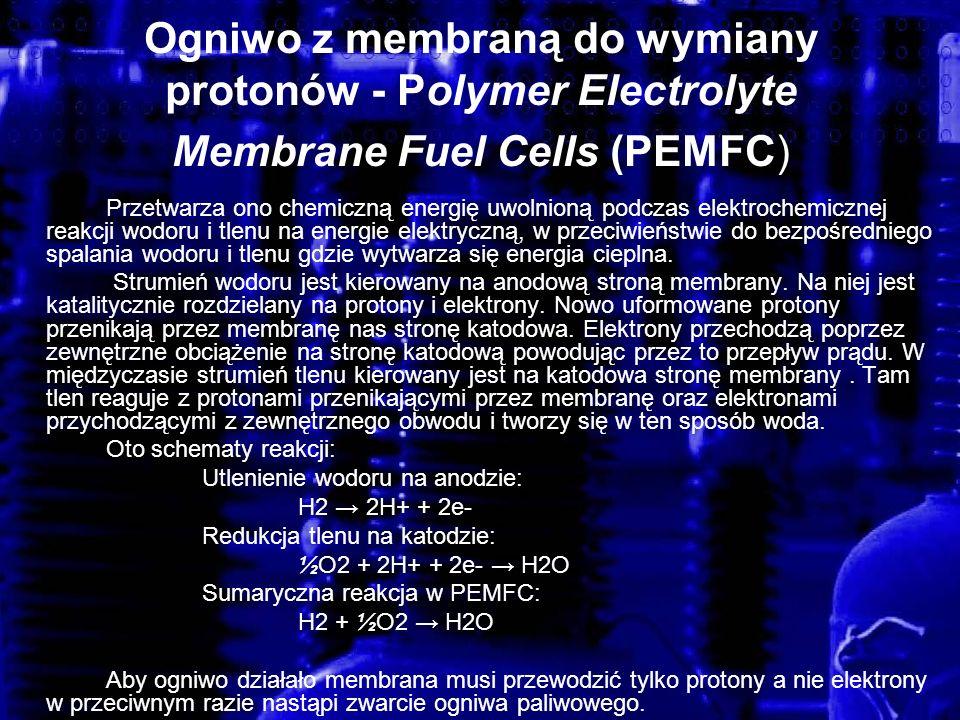 Ogniwo z membraną do wymiany protonów - Polymer Electrolyte Membrane Fuel Cells (PEMFC) Przetwarza ono chemiczną energię uwolnioną podczas elektrochem
