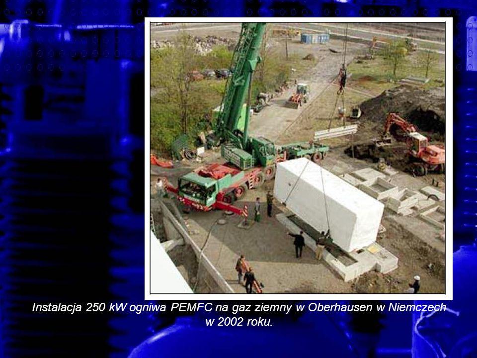 Instalacja 250 kW ogniwa PEMFC na gaz ziemny w Oberhausen w Niemczech w 2002 roku.