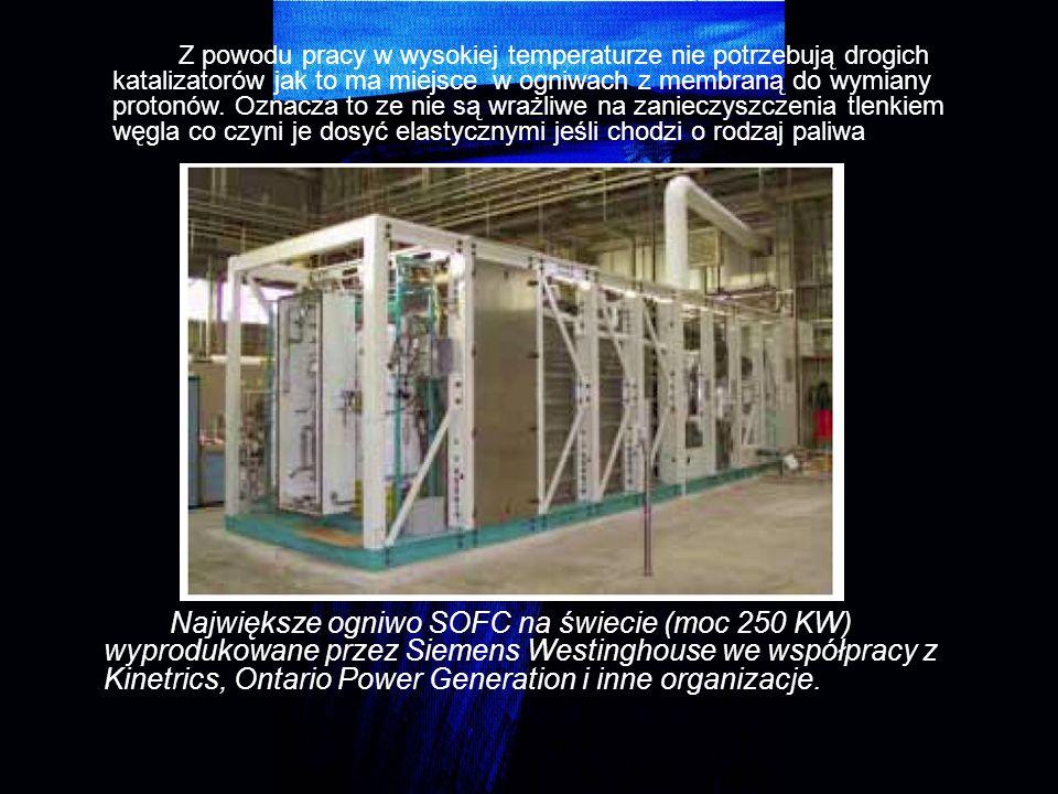 Największe ogniwo SOFC na świecie (moc 250 KW) wyprodukowane przez Siemens Westinghouse we współpracy z Kinetrics, Ontario Power Generation i inne org