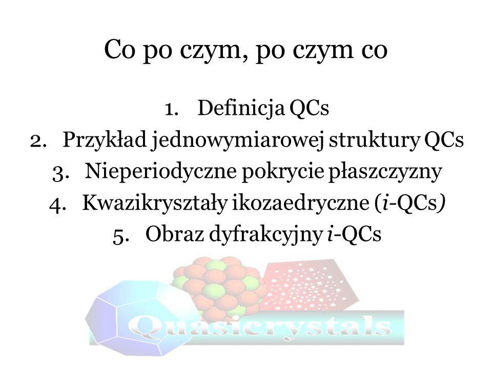 Co po czym, po czym co 1.Definicja QCs 2.Przykład jednowymiarowej struktury QCs 3.Nieperiodyczne pokrycie płaszczyzny 4.Kwazikryształy ikozaedryczne (