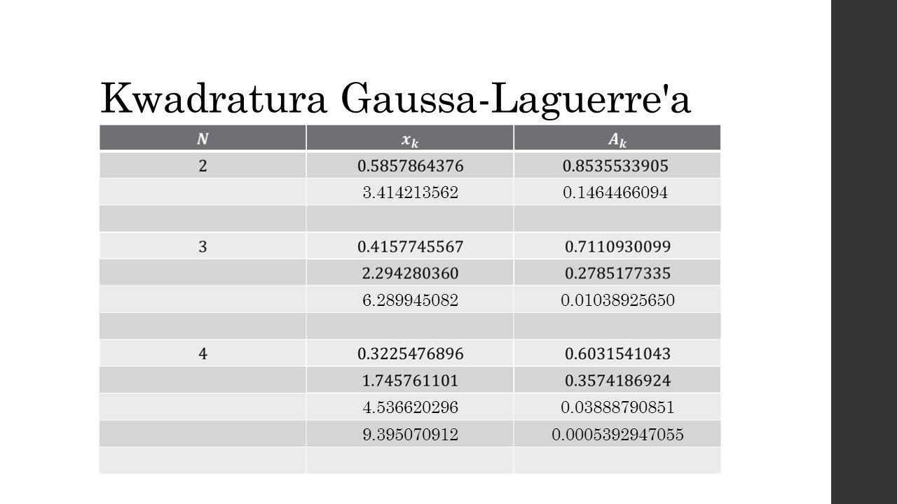 Kwadratura Gaussa-Laguerre'a 3.414213562 0.1464466094 6.2899450820.01038925650 4.5366202960.03888790851 9.3950709120.0005392947055