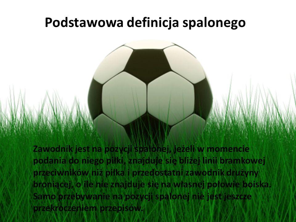 Zawodnik jest na pozycji spalonej, jeżeli w momencie podania do niego piłki, znajduje się bliżej linii bramkowej przeciwników niż piłka i przedostatni
