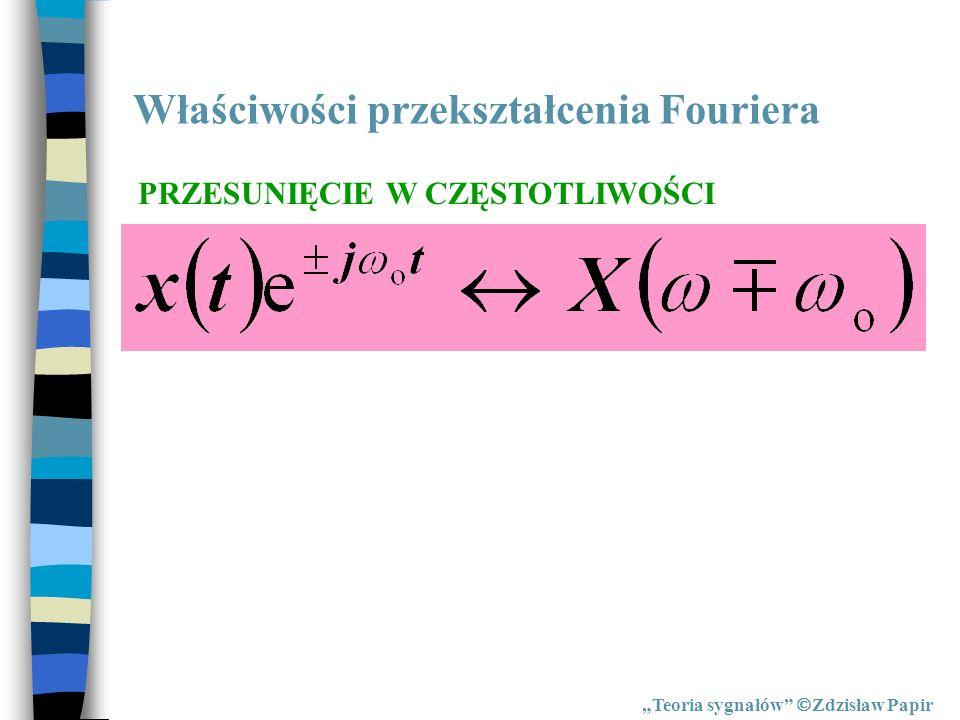 Właściwości przekształcenia Fouriera Teoria sygnałów Zdzisław Papir PRZESUNIĘCIE W CZĘSTOTLIWOŚCI