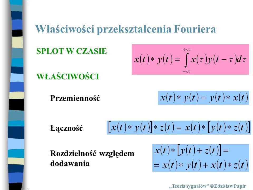 Właściwości przekształcenia Fouriera Teoria sygnałów Zdzisław Papir SPLOT W CZASIE WŁAŚCIWOŚCI Przemienność Łączność Rozdzielność względem dodawania
