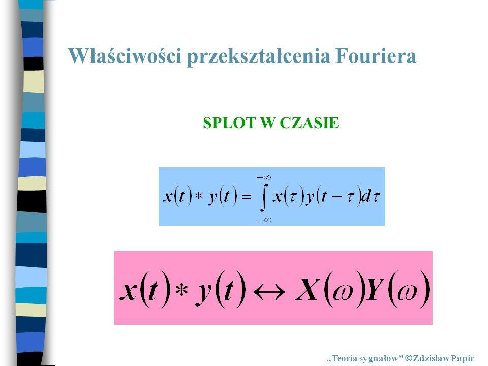 Właściwości przekształcenia Fouriera Teoria sygnałów Zdzisław Papir SPLOT W CZASIE