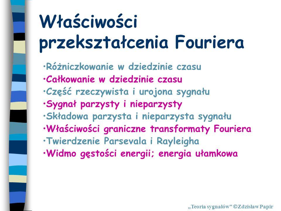 Właściwości przekształcenia Fouriera Teoria sygnałów Zdzisław Papir Różniczkowanie w dziedzinie czasu Całkowanie w dziedzinie czasu Część rzeczywista