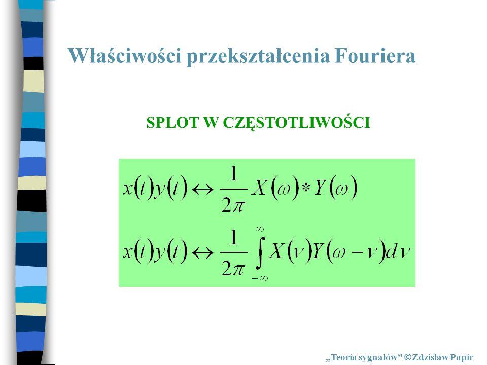Właściwości przekształcenia Fouriera Teoria sygnałów Zdzisław Papir SPLOT W CZĘSTOTLIWOŚCI