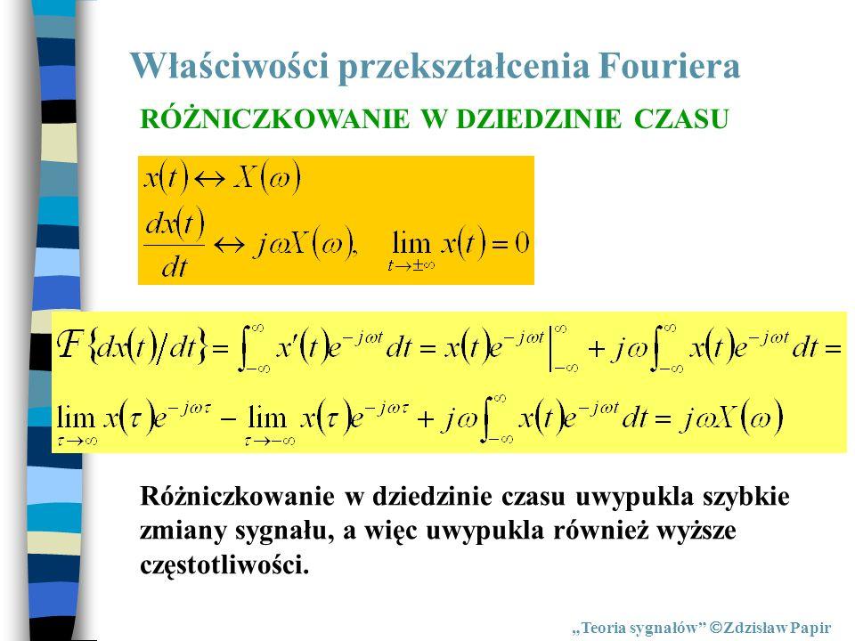 Właściwości przekształcenia Fouriera Teoria sygnałów Zdzisław Papir RÓŻNICZKOWANIE W DZIEDZINIE CZASU Różniczkowanie w dziedzinie czasu uwypukla szybk