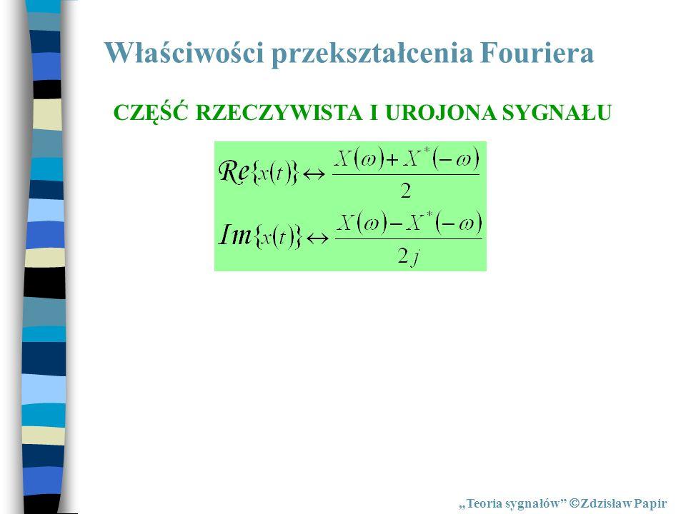 Właściwości przekształcenia Fouriera Teoria sygnałów Zdzisław Papir CZĘŚĆ RZECZYWISTA I UROJONA SYGNAŁU