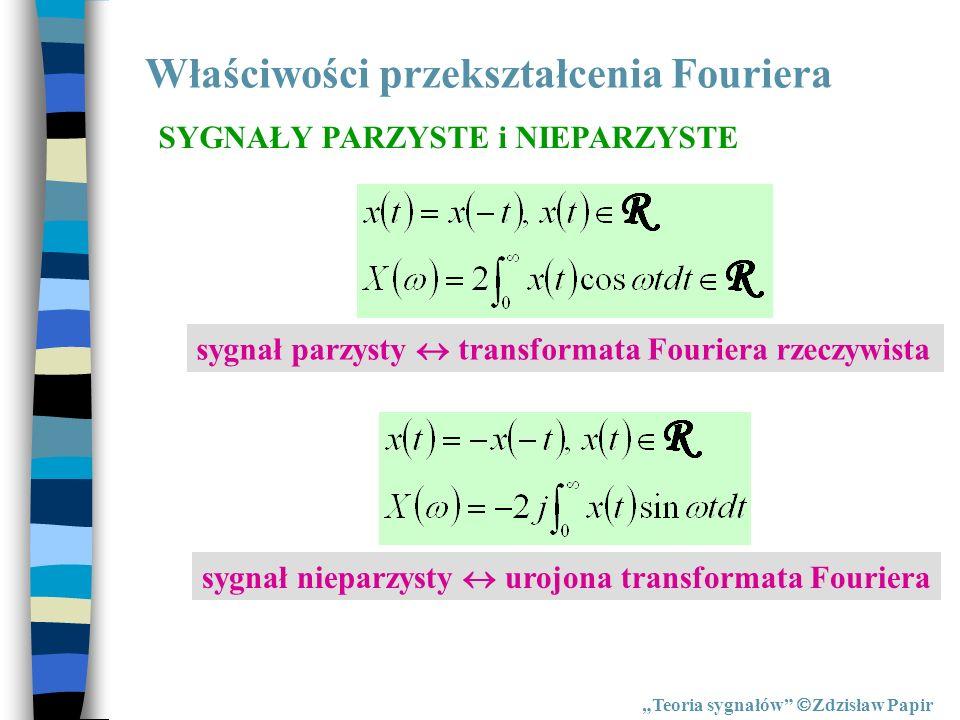 Właściwości przekształcenia Fouriera Teoria sygnałów Zdzisław Papir SYGNAŁY PARZYSTE i NIEPARZYSTE sygnał parzysty transformata Fouriera rzeczywista s