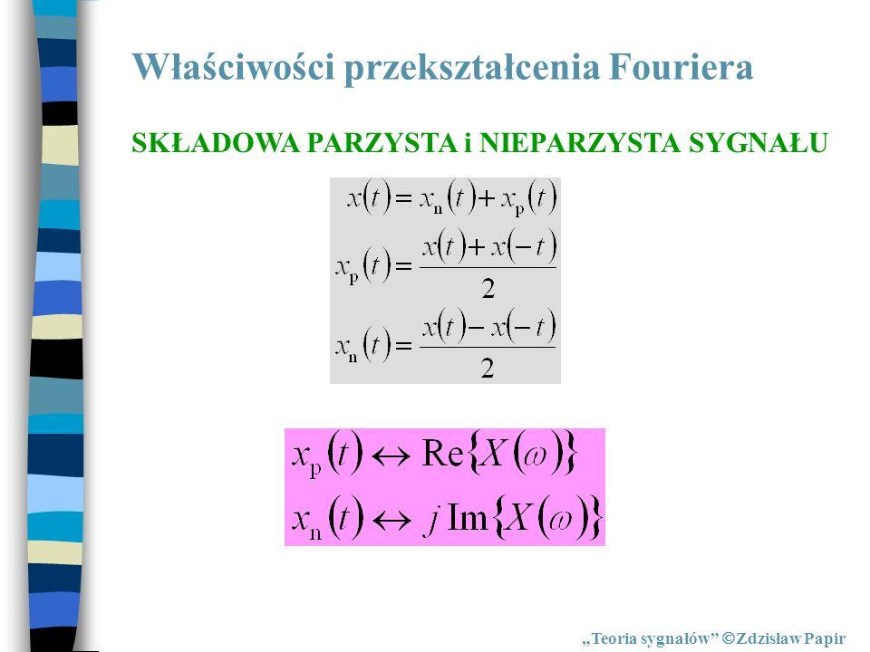 Właściwości przekształcenia Fouriera Teoria sygnałów Zdzisław Papir SKŁADOWA PARZYSTA i NIEPARZYSTA SYGNAŁU