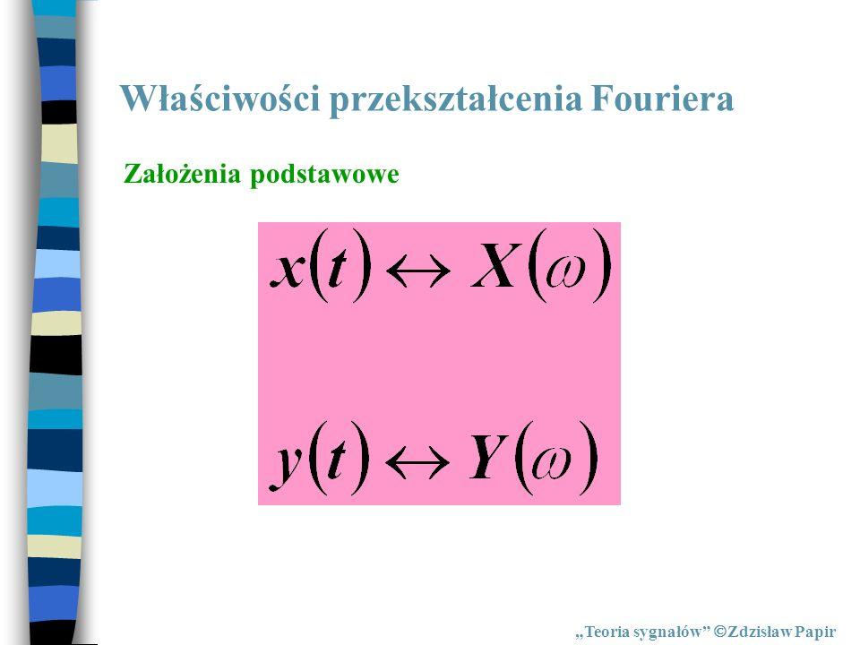 Właściwości przekształcenia Fouriera Teoria sygnałów Zdzisław Papir Założenia podstawowe